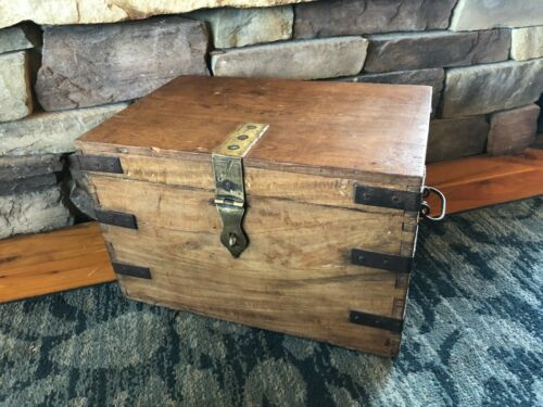 Primitive Antique Wooden Strong Box, Treasure Chest, Trunk, Circa 1900