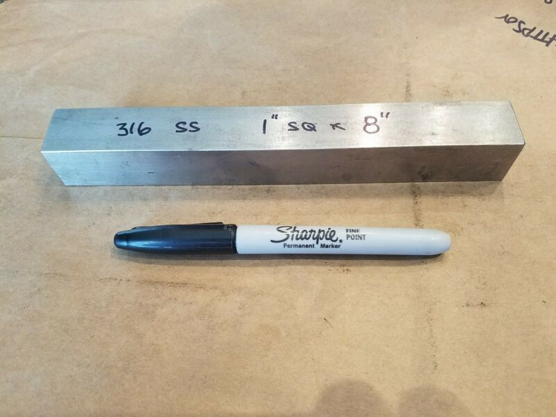 "316 Stainless Steel Square Bar,  1"" x 8""  Machine Stock"