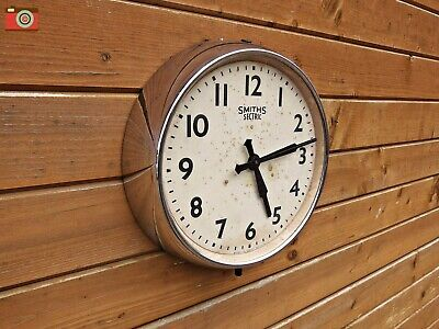 VINTAGE SMITHS SECTRIC WALL CLOCK. V. Rare Chrome. Restored & Updated. No Wires