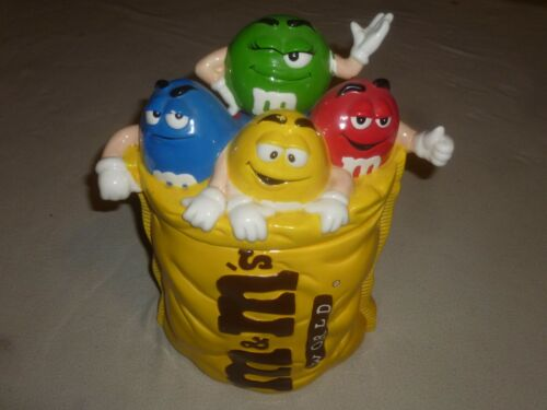 M&MS WORLD CERAMIC COOKIE JAR PEANUT RARE MULTI CHARACTER CANISTER CANDY