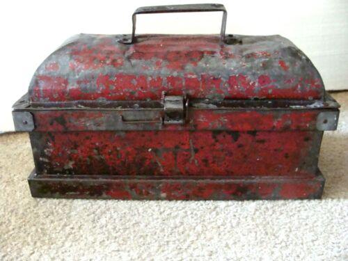 Antique Coffin Lidded Steel Tool Lock Box Primitive Tool Box Hand Made Zinc