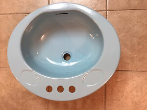 Vintage 1970s Baby Blue Metal Sink Pristine Condition
