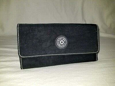 "Kipling ""Brownie"" BLACK Trifold Snap Organizer Clutch Wallet"