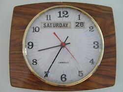 VERY RARE VINTAGE CARAVELLE WALL CALENDAR CLOCK