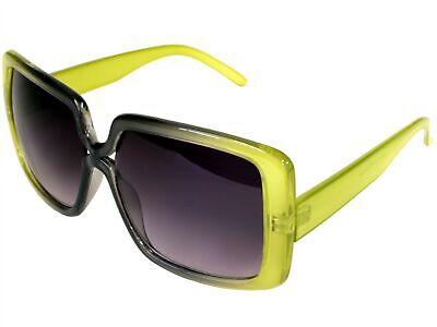 Green Designer Sunglasses - Vintage Square Robinette Designer Sunglasses Yellow Green Gray
