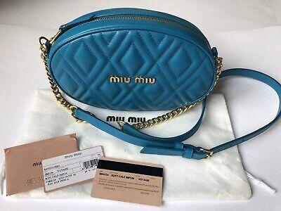Original MIU MIU 5BH134 BANDOLIERA Cross Body Bag/Tasche Lammleder blau  NEU OVP
