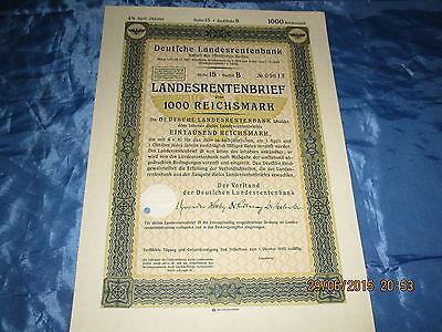 558 : Antik Wertpapier , Deutsche Landesrentenbank ,1000 Reichsmark, Rentenbrief