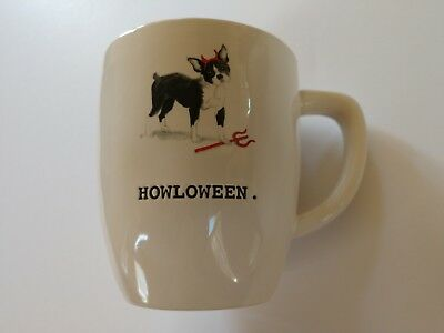 Rae Dunn Magenta Halloween Boston Terrier Little Devil Howloween Dog Mug New ()