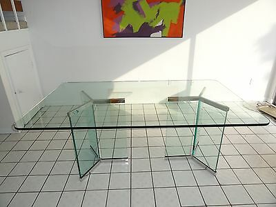 EXCEPTIONAL 70's MODERN ROSEN PACE DINING TABLE w GLASS AND CHROME PEDESTAL