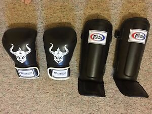 Warrior gloves/ fairtex shin pads