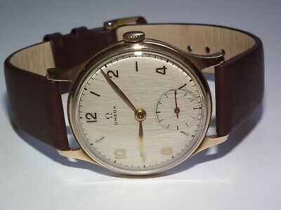 Very Scarce Solid 9ct Gold Omega Calibre 28 Early 1947 Gents Wristwatch Working