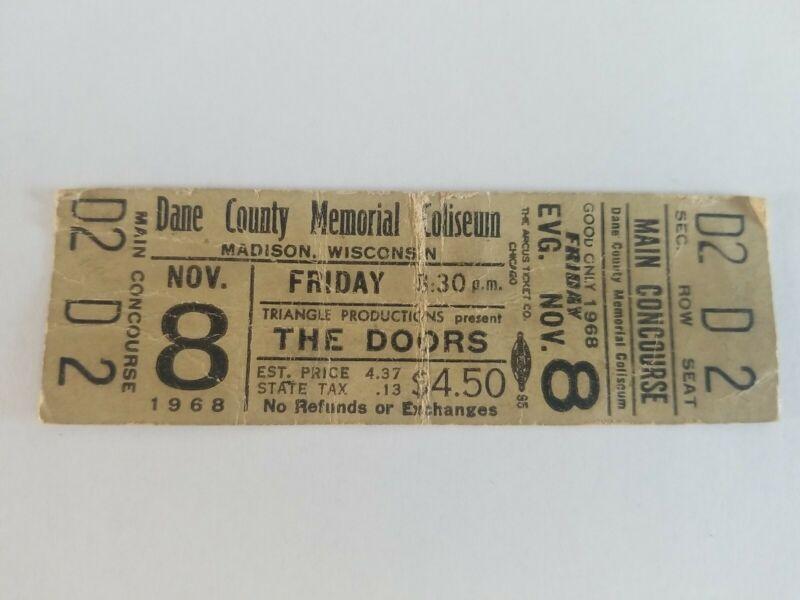 The Doors ticket November 8th 1968 dane county memorial Coliseum madison wi