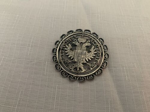 Vintage Coat Of Arms Austria Hungary Brooch Signed Accesocraft