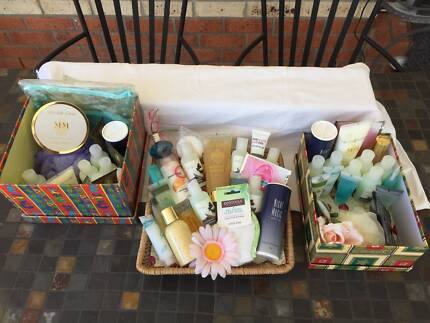 CHRISTMAS GIFTS - BOXES & BASKET -63 Items Incl PERFUME,LOTIONS +