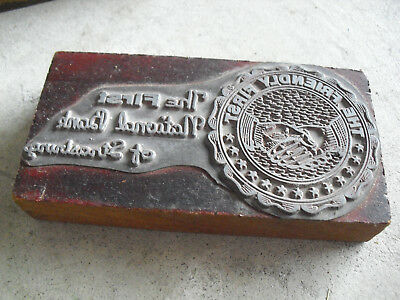 Vintage First National Bank Wood Metal Letterpress Print Block Stamp