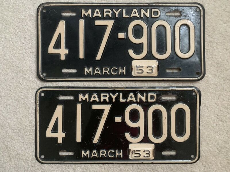 Maryland 1953 License Plates With 1953 Tabs