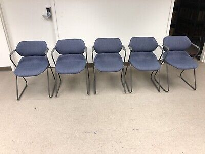 Vintage Acton Stacker Mid Century Modern Chrome Blue Stackable Chairs Set Of 5