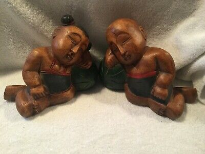 VINTAGE Hand Carved Painted Oriental Sumo Chinese Martial Arts Figures