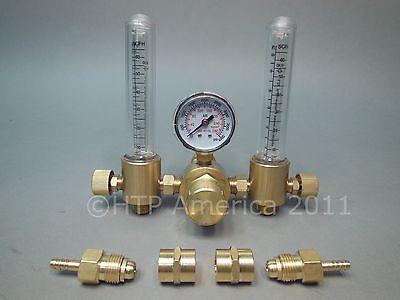 Dual Htp Argon Co2 Mig Tig Flow Meter Regulator Welding Weld Double Backpurge