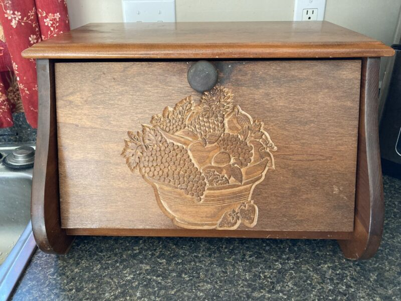 Vintage Wood Bread Box With Carved Fruit Bowl