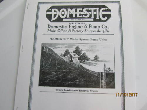 1925 Domestic Gas Engine  Water System Pump Unit Information Catalog