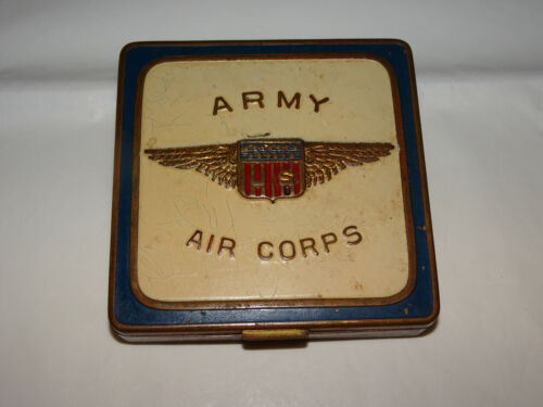 Pre-WWII Enameled ARMY AIR CORPS Makeup Compact w/ Photo Compartment