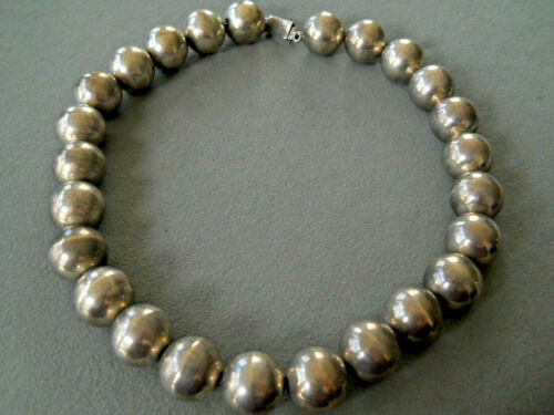 """Southwestern Style Large Sterling Silver Seamless 3/4"""" Bead Link Chain Necklace"""