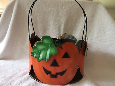 Happy Jack-o-lantern Halloween Trick or Treat Candy Bucket or Planter