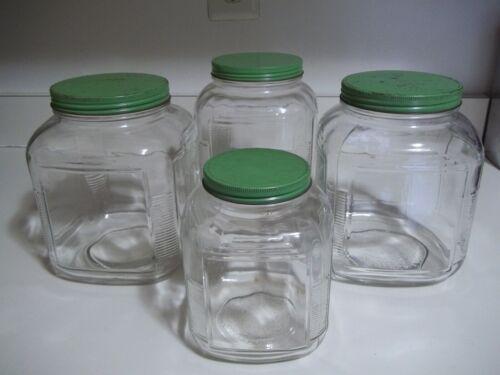 4 Vtg Hoosier Square Ribbed Corner Jar Canister Green Lid Depression Era