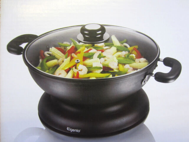 Elgento Non-Stick Easy Clean Coating Twin Cool Touch Handles Electric Wok