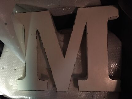 Metal industrial letter M x 2 brand new