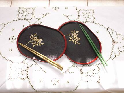 2000 Decorative Japanese Sushi Oval Plates & Chop Sticks Set of 2 Greenwood Joondalup Area Preview