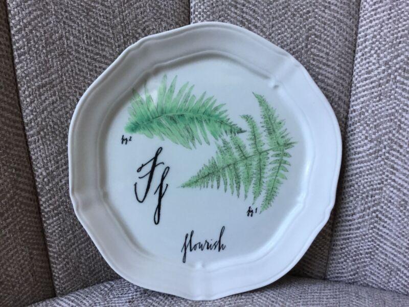 "Linea Carta by Diva Pyari 6 3/8 Inch Plate - F "" Flourish "" Ferns HTF Botanical"