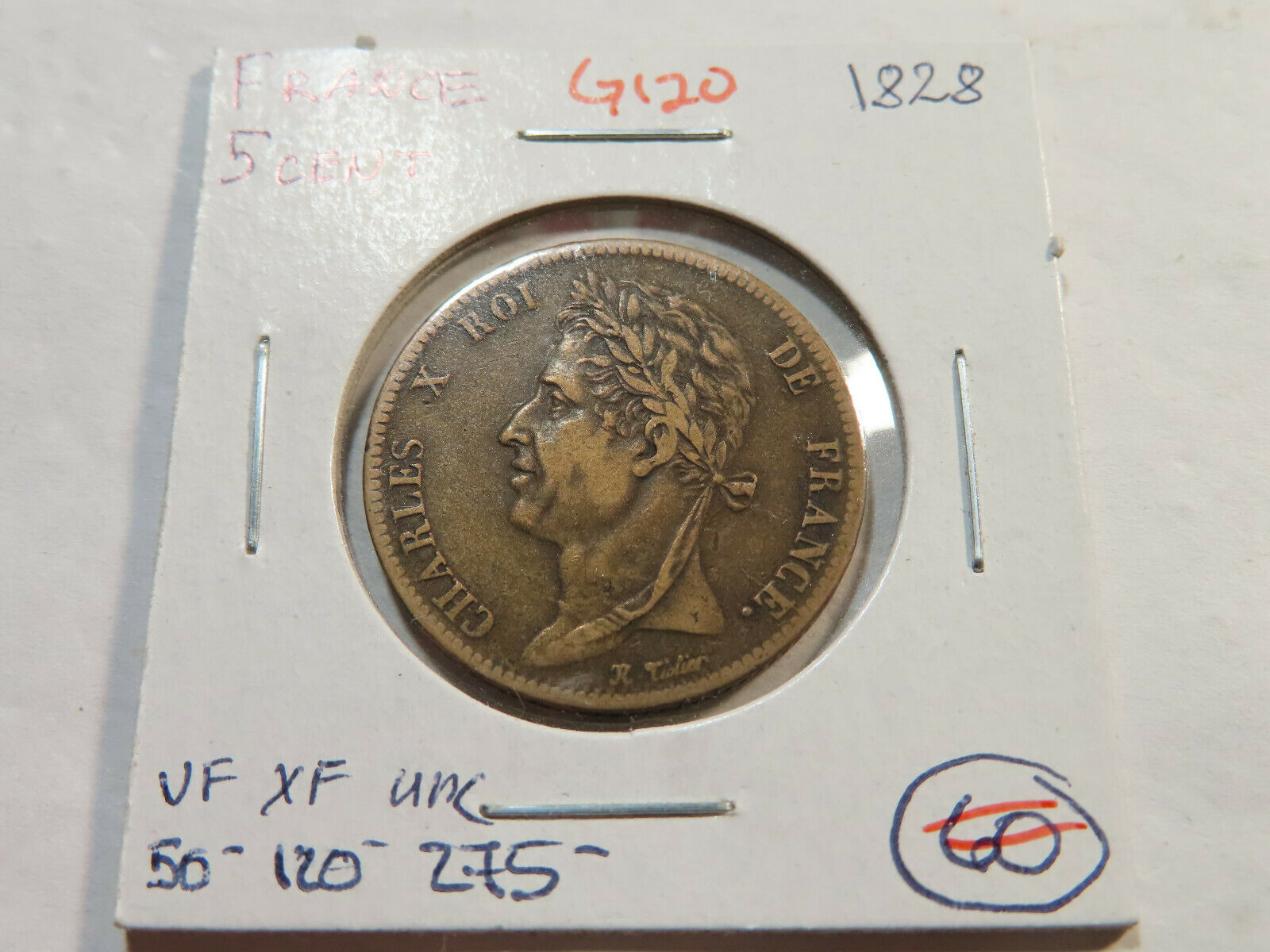 G120 France 1828 5 Centimes - $8.50