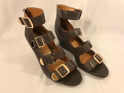 BCBG Cayden Brown Buckle Wedge Sandal Women's Size 8.5 B Leather Heeled Open Toe Brown Leather Wedge Sandal