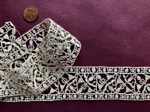 17th C. Punto In Aria needle lace border COLLECTOR SEW CRAFT