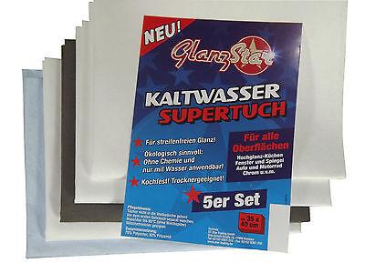 GLANZSTAR Kaltwasser Supertuch Streifenfrei Kochfest 5er Set, Fenster + Glastuch