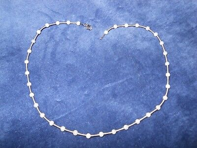 14k White Gold Fresh Water Pearl Tin Cup Station Necklace for sale  Lynn