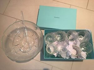 Crystal punch bowl and 24 glasses