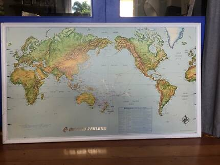 Framed world map gumtree australia free local classifieds vintage wall framed world map air new zealand nz gumiabroncs Image collections