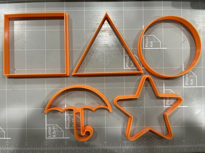 Squid Game Cookie Cutters Set of 5 , Umbrella, Square, Triangle, Circle, Star