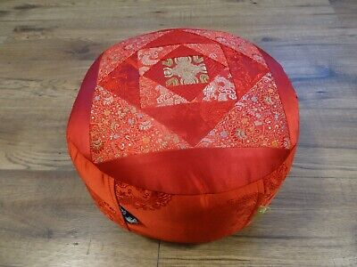 Used, Zafu Meditation Yoga Cushion With Carrying Handle Silk Brocade Nepal Red Dorje for sale  Shipping to Ireland