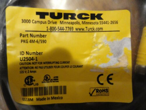 Turck PKG 4M-6/S90  Micro 3 wire cord.  NOS