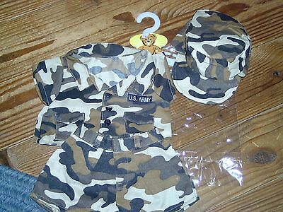 NEW IN PLASTIC - BEAR FACTORY-U S ARMY UNIFORM - 3 PIECE SET -SHIRT PANTS &HAT