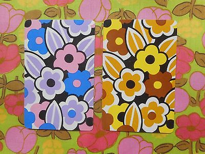 Two/pair of vintage kitsch retro 70's game, playing cards - bright mod flowers