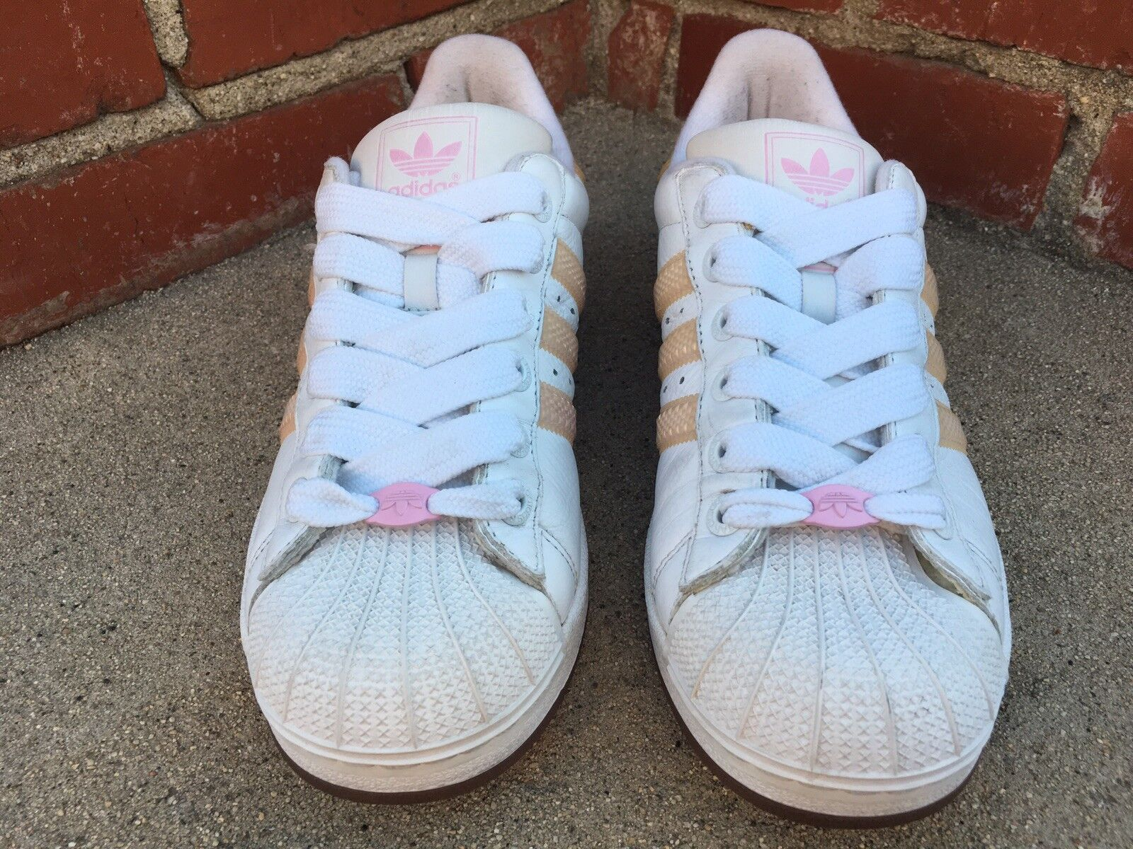 3bb0c38d3baa Rare 2003 Adidas Superstar II White w  Peach Stripe Sneaker 041227 ...