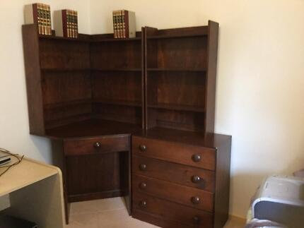 Corner desk and four draw chest with shelves Donvale Manningham Area Preview