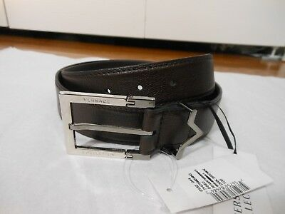 NWT Versace Collection $285 Leather Logo Buckle Belt,Dark Brown,Size40/100,36/90
