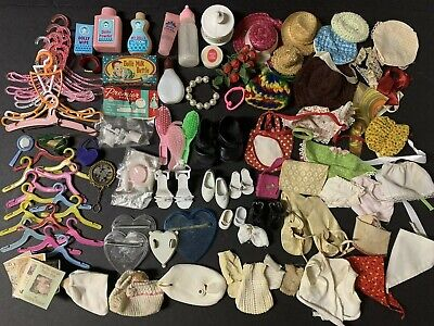 Lot Of Various Vintage  Antique Small Doll Accessories ~100 Items ~hats,hangers