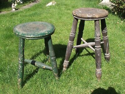 * TWO ( 2 ) VERY OLD * Original WOOD Kitchen Stools * ?? Pine ??